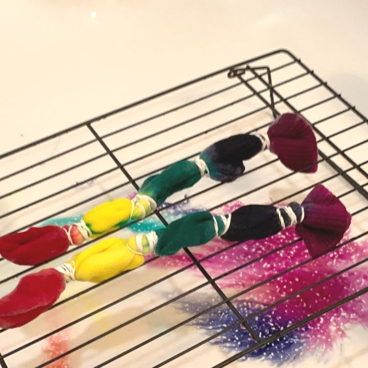 dye dripping down off a cookie rack when tie dying socks