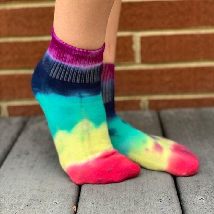 striped tie dye socks
