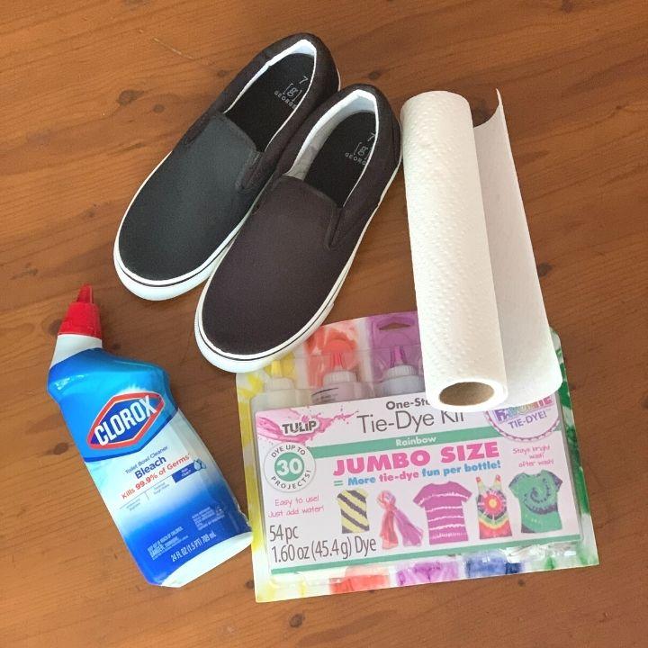 Bleach tie dye shoes supplies