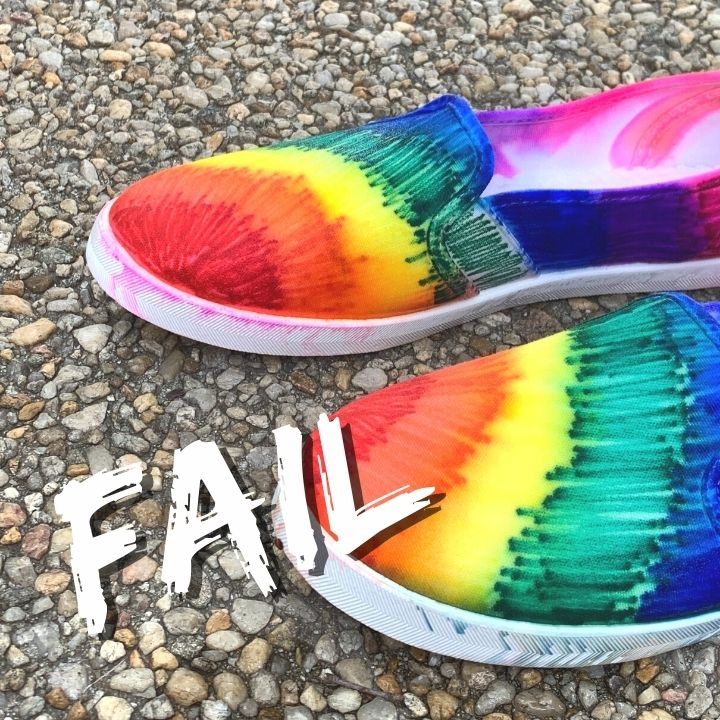 shoes that didn't tie dye correctly