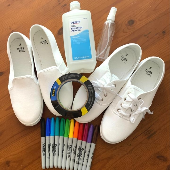 supplies for tie dye shoes