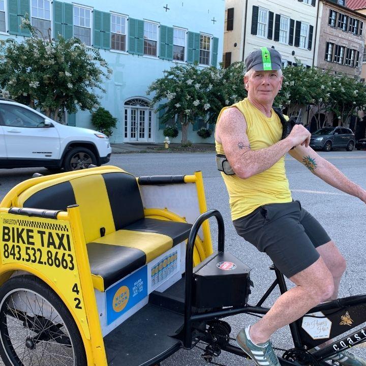 A bike taxi driver in Charleston, SC