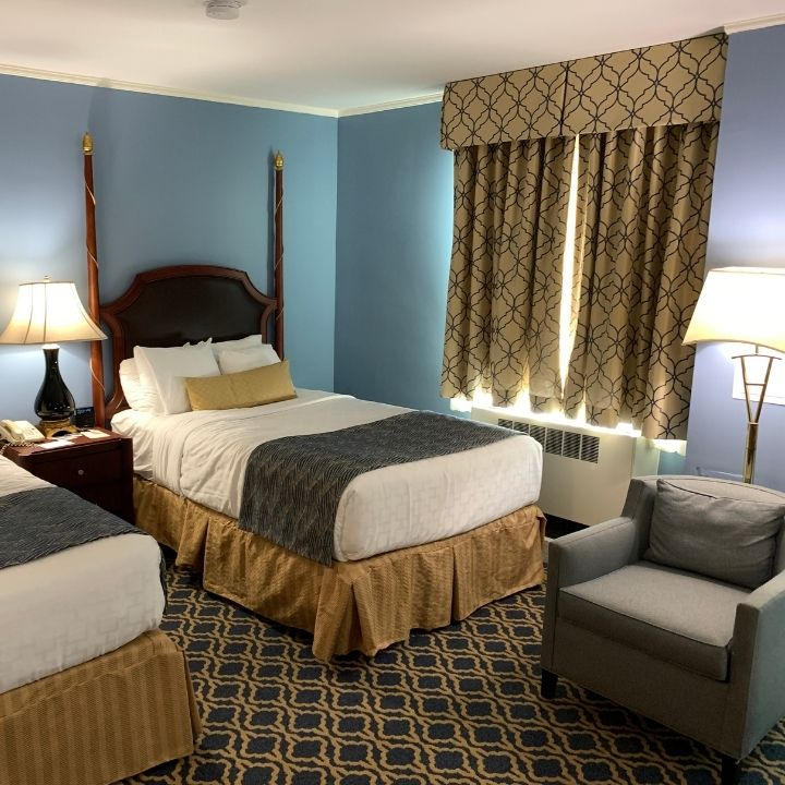 Room interior at the Francis Marion Hotel in Charleston, SC