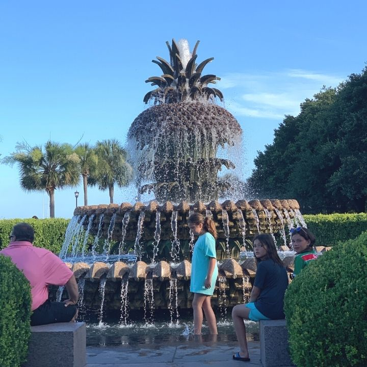 The pineapple fountain at Charleston Waterfront Park in Charleston, SC.